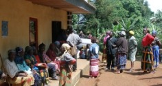 Queue of patients at Lui Clinic, Cameroon